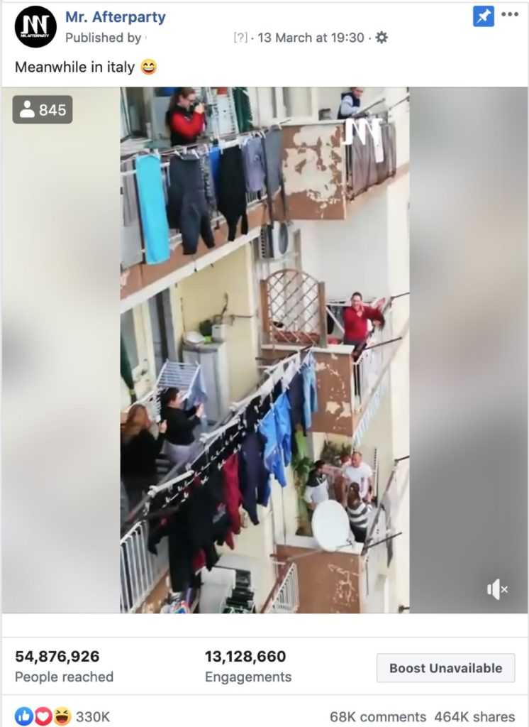 viral video of Italians singing during Covid