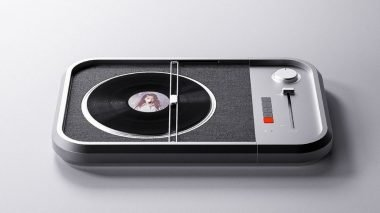 A minimalist turntable designed around cameras and typewriters