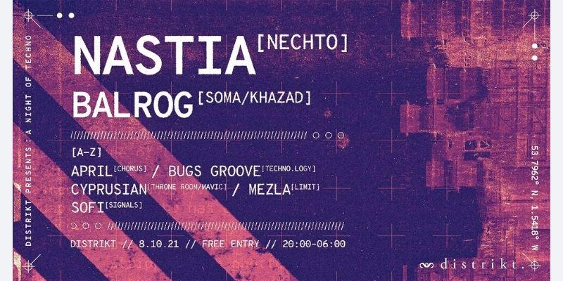 Distrikt Presents A Night of Techno: Nastia - Distrikt Bar - Leeds